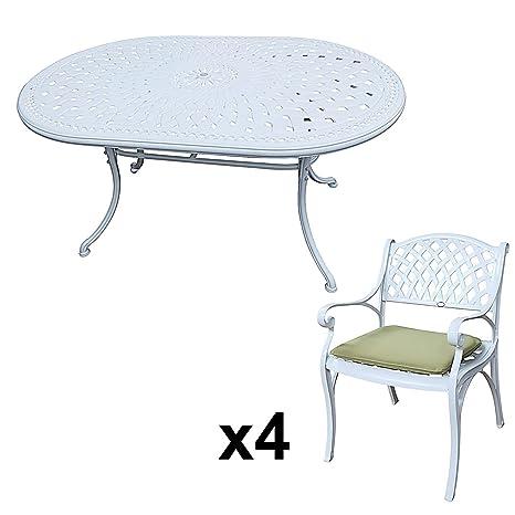 Lazy Susan - JUNE 150 x 95 cm Ovaler Gartentisch mit 4 Stuhlen - Gartenmöbel Set aus Metall, Weiß (KATE Stuhle, Grune Kissen)