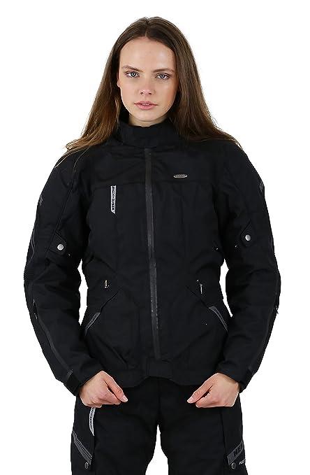 NERVE 1510011204_03 West Coast Blouson Moto Touring Textile Femme, Noir, Taille : 38