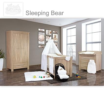 Babyzimmer Enni 10-tlg. in der Farbe Sonoma / Weiß mit 2 turigem Kl. + Textilien Sleeping Bear, Weiß