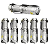 6 Pack,Pocketman 7W 300LM SK-68 3 Modes Mini Cree Silver Q5 LED Tactical Flashlight