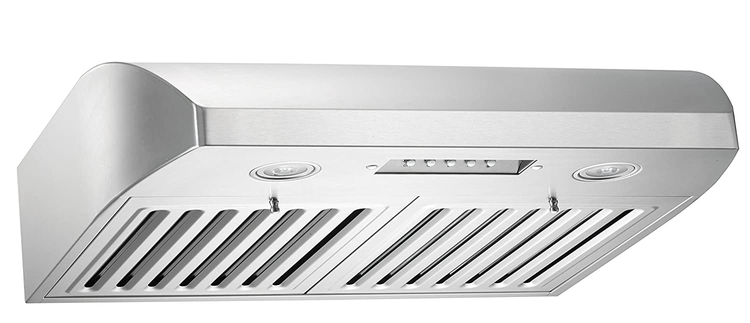 "KOBE Range Hoods CHX2230SQB-1 Contemporary Brillia 30"" Under Cabinet Range Hood, 3-Speed, 680 CFM, LED Lights, Baffle Filters, Stainless Steel"