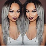 Superwigy Long Straight Hair Two Tone Black and Grey Ombre Wig Heat Resistant Fiber Synthetic Wigs (Color: black and grey, Tamaño: adjustable size fits most)