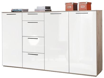 Base soggiorno tre ante 4 cassetti rovere e laccato bianco BS2164 L199h112p41