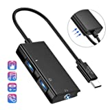 USB C to Headphone Adapter, 3 in 1 USB C to 3.5mm Audio with USB Type C Female Audio Port + PD Power Port, Built-in DAC Technology Ensure Stable for Galaxy Note 10 Aux Adapter (Black) (Color: Black)