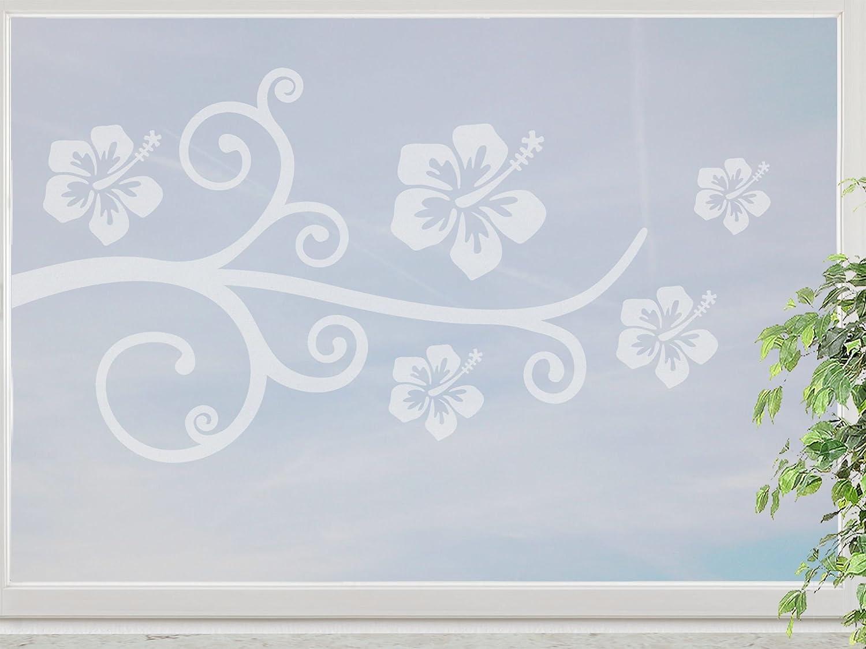 wandfabrik – Fenstersticker 1 Hibiscus Blüten Ranke -60cm Motiv (H1R60) – frosty – 798 – (Hg) günstig kaufen