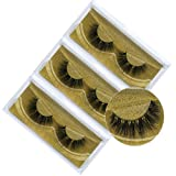 3D Faux Mink Eyelashes Natural Soft Long Handmade Crossed Curved Interlacing V Shaped False Lashes 3Pairs