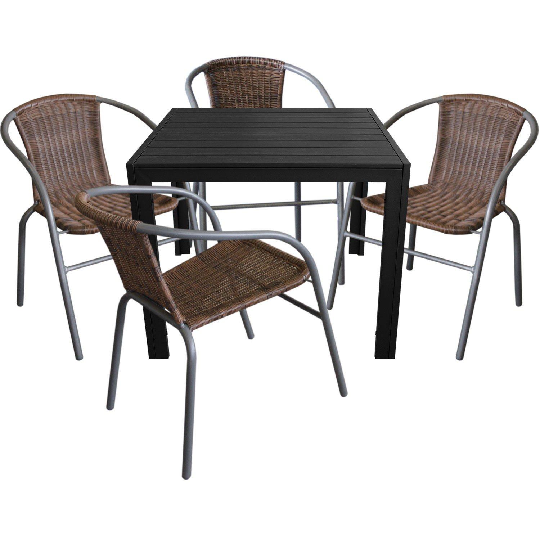 5tlg. Gartengarnitur Aluminium Gartentisch 90x90cm mit Polywood Tischplatte Polyrattan Bistrostuhl stapelbar Cappuccino / Grau