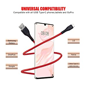 USB Type C Cable 6FT 5 Pack CyvenSmart,Nylon Braided USB C Cable Long Google Pixel 2 Charger for Samsung Galaxy S10 S9 S8 Plus Note 9 8,Moto Z,LG V30