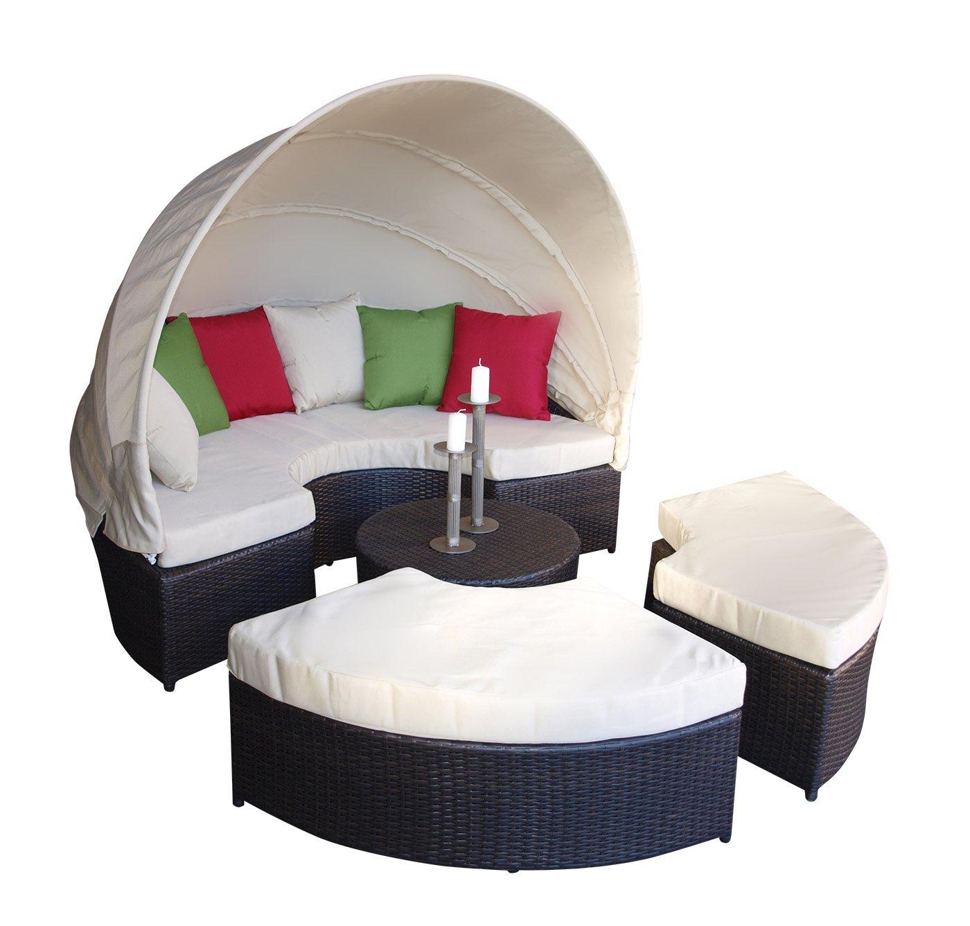 Liegeinsel ALCUDIA aus Alu + Polyrattan dunkelbraun, Polster ecru, nutzbar als Lounge Garnitur, fertig montiert