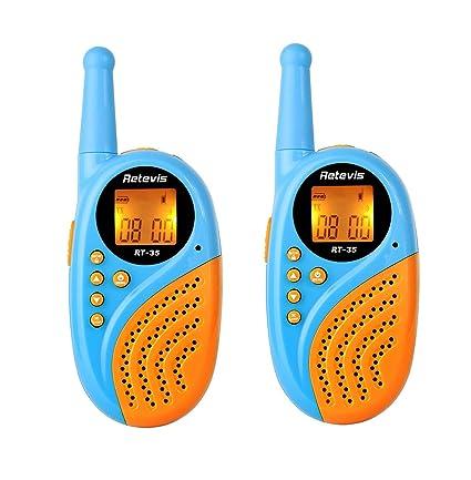 Retevis RT-35 Paire de Talkies Walkies Enfants Rechargeables Matériel PC Résistant 8 Canaux PMR446 VOX Lampe Torche Horloge Alarme (Bleu, 1 Paire)