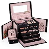 Black Leather Jewelry Box Travel Case and Lock (Color: black)