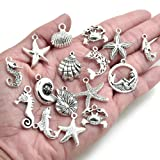 BronaGrand 40 Pieces Mixed Antique Silver DIY Ocean Fish & Sea Creatures Charms Pendants for Making Bracelet and Necklace