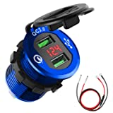 Quick Charge 3.0 Car Charger, CHGeek 12V/24V 36W Waterproof Dual QC3.0 USB Fast Charger Socket Power Outlet with LED Digital Voltmeter for Marine, Boat, Motorcycle, Truck, Golf Cart and More (Blue) (Color: Blue)