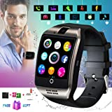 Smart Watch,Smartwatch for Android Phones, Smart Watches Touchscreen with Camera Bluetooth Watch Phone with SIM Card Slot Watch Cell Phone Compatible Android Samsung iOS i Phone X 8 7 6 5 Men Women (Color: Black, Tamaño: Black)