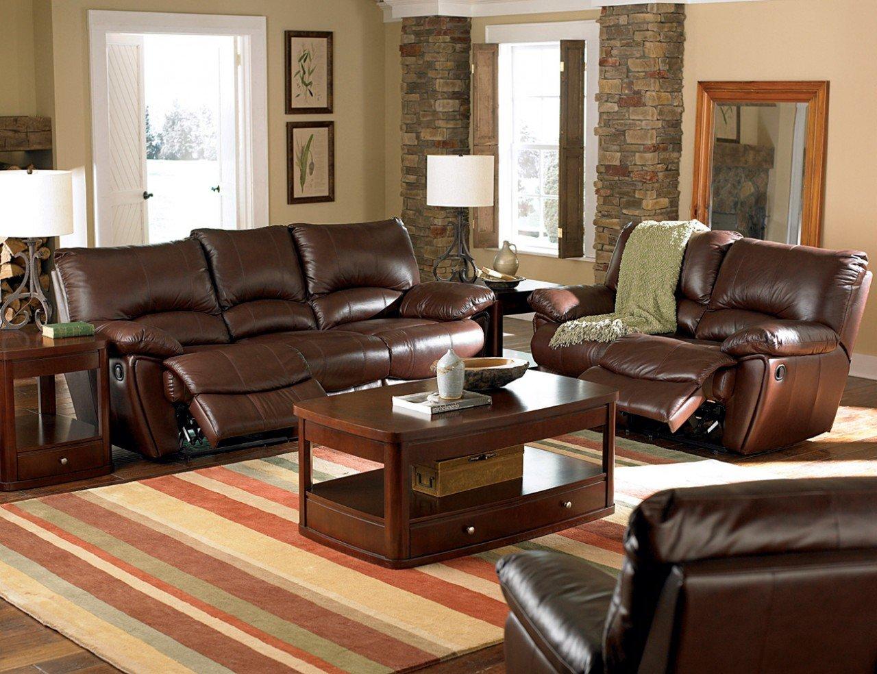 Inland Empire Furniture Mansi Dark Brown Leather Match Motion Reclining Sofa & Love Seat