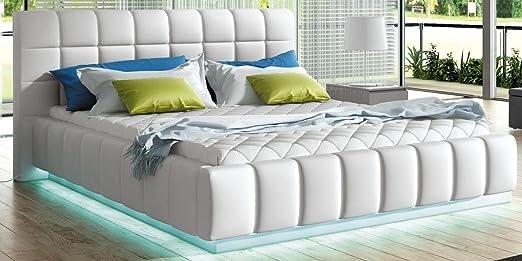 Bett PRATO Betgestelle Polsterbett Ehebett Doppelbett mit LED (180 x 200 cm, weiß)