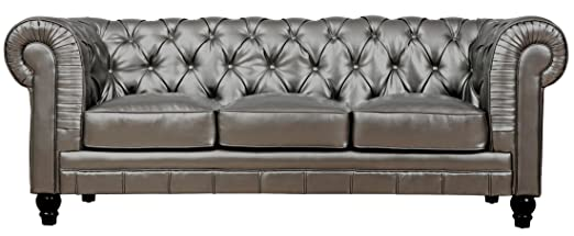 TOV Furniture Zahara Leather Sofa, Silver