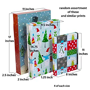 Iconikal Pre-Printed Holiday Gift Boxes 12-Pack (Color: Holiday)