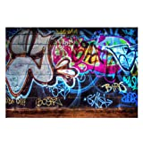 FUT Newest Colorful Graffiti in the Wall Vinyl Backdrop Background for Wall Decor Studio Photography Television Backdrops 7x5ft (Color: Colorful Graffiti(7x5ft), Tamaño: 2.1x1.5m (7x5ft))