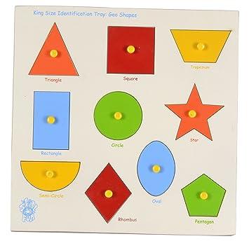 skillofun wooden large shapes shape tray triangle multi color - Color Tray
