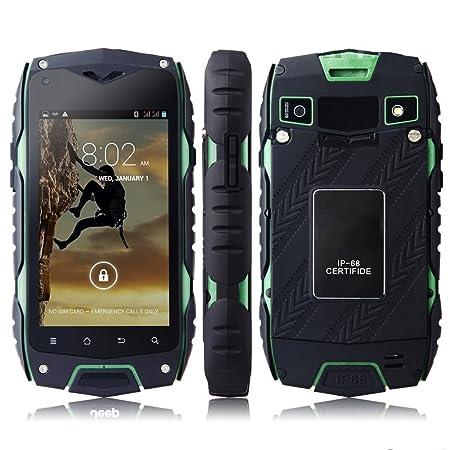 """Z6 IP68 Tri-Etanche à la poussière Résistant aux chocs Android 4.2 MTK6572 1.2GHz Dual Core 512 Mo de RAM 4 Go ROM 4.0 """"800 x 480 pixels IPS écran tactile capacitif 8.0MP Camera WCDMA / GSM 3G Compass smartphone GPS avec c"""
