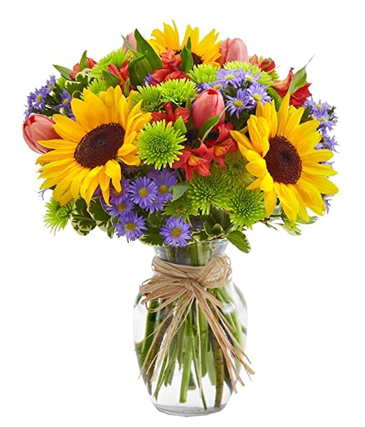 From You Flowers | European Floral Garden | Sunflowers, Pink Tulips, Green Poms | Free Glass Vase Included | Measures 12