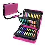 180 Colored Pencils Case / 140 Gel Pens Bag - YOUSHARES PU Leather Colored Pencil & Gel Pen Case with Zipper Holds - Artist use Supply School Large Capacity Professional Storage(Red) (Color: Red)