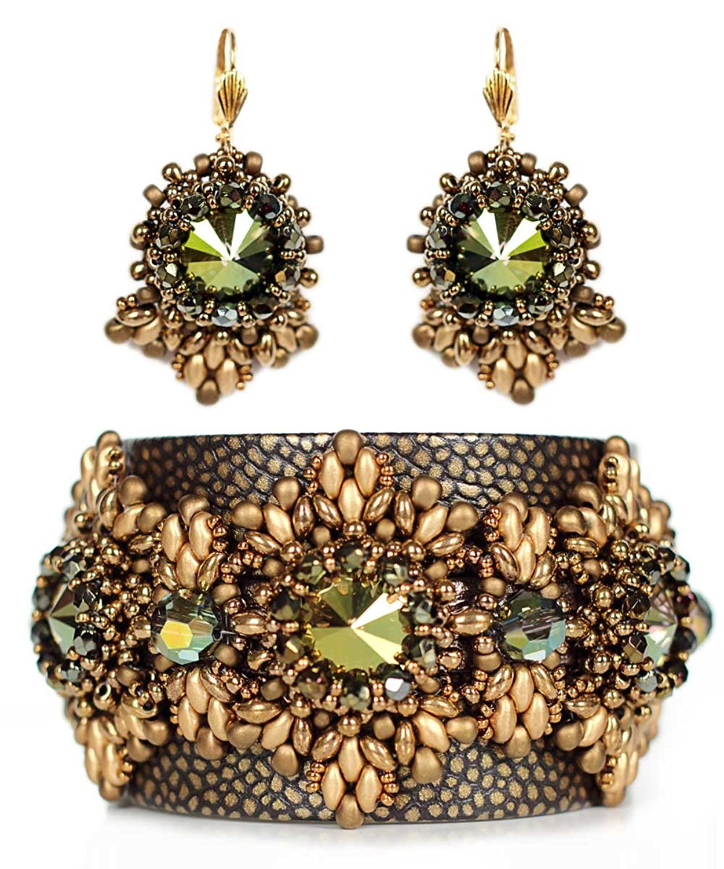 Juwelina Damen Schmuck-Set Armband Nappa Leder in Bronze-Schwarz 20cm+ Ohrhänger 4,5cm mit Swarovski Kristallen jetzt kaufen