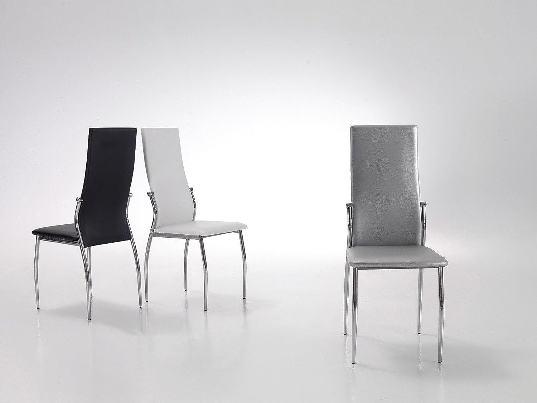 silla tapizada negra con estructura de acero