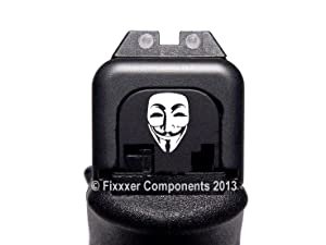 FIXXXER Rear Cover Plate for Glock (Guy Fawkes Design) Fits Most Models (Not G42, G43) and Generations (Not Gen 5)