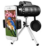 Monocular Telescope, Esolom 50X60 High Power HD Monocular with Smartphone Holder & Tripod -Waterproof Monocular with Durable and Clear FMC BAK4 Prism Dual Focus for Bird Watching, Camping (Color: black)