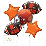 Andaz Press Balloon Bouquet Party Kit with Gold Cards & Gifts Sign, Browns Football Themed Foil Mylar Balloon Decorations, 1-Set (Color: Sports Browns)