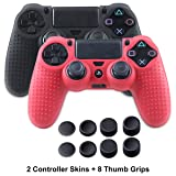 Skin for PS4 Controller - Silicone Covers for DualShock 4 - Anti-slip Protector Case Set for Sony Palystaion 4, Slim, Pro 2 Controller Skin with 8 Thumb Grips (Color: Black+Red)