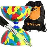 Jester Medium Diabolo (Mix) with Aluminum Diablo Sticks (incl string) & Firetoys Bag (Color: Multicolored)
