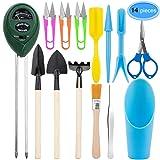 EAONE 3 in 1 Soil Meter Moisture/Light/PH Tester with Bonsai Kit Garden Plant Tools, Include Pruner, Fold Scissors, Spade Rake Shovel, Pail Shovel, Tweezers, transplanting Tool and Cleaning Brush