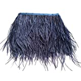 wanjin Ostrich Feathers Trims Fringe with Satin Ribbon Tape for Dress Sewing Crafts Costumes Decoration Pack of 2 Yards (Navy Blue) (Color: 42#-Navy Blue)