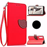 Huawei P20Lite/Nova3e Case, Very Light Slim Natural Leaf Lid Design Bling Soft Wallet Card Slots Cover, WEIFA Newest Super Cool Thin Anti-Scratch Protection Cellphone Case for Huawei P20 Lite Red (Color: !Red, Tamaño: Huawei P20 Lite)