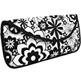 Portable Hot Flat Iron Hair Styling Tools Travel Case by bogo Brands (Black w/White Flowers) (Color: Black)