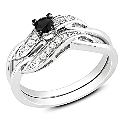 Sterling Silver White and Black Accent Diamond Wedding Band (0.25 Cttw, G-H Color, I3 Clarity)