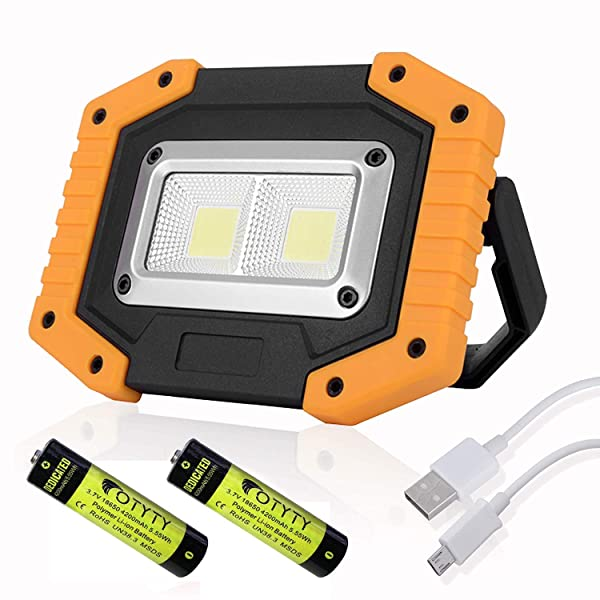 OTYTY 2 COB 30W 1500LM LED Work Light, Rechargeable Portable Waterproof LED Flood Lights for Outdoor Camping Hiking Emergency Car Repairing and Job Site Lighting (1 Pack) (Color: Yellow, Tamaño: 1 Pack)