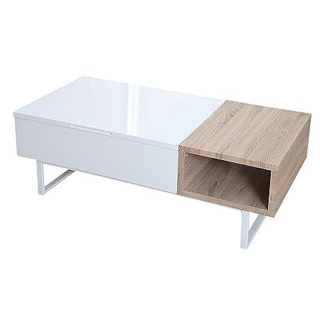 Design Couchtisch FABRIC II Hochglanz Sonoma Eiche aufklappbar Holztisch Wohnzimmertisch Tisch
