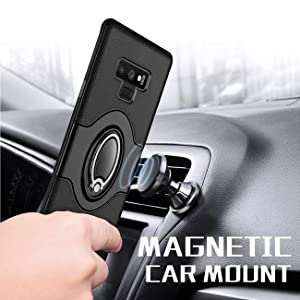 Navy Blue Dashboard Magnetic Phone Car Mount Samsung Galaxy S9 Case eSamcore Ring Holder Kickstand Cases