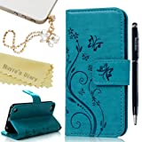 iPod Touch 6 Case,Touch 5 Wallet Case, Mavis's Diary Fashion Embossed Floral Butterfly PU Leather Flip Stand Cover & Wrist Strap Card Holders for iPod Touch 5th/6th Generation & Dust Plug & Pen - Blue (Color: Blue)