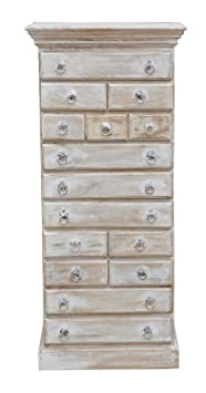 India Half Sideboard Chest of Drawers Shabby Chic Kredenz Kalkweiß