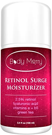RETINOL MOISTURIZER - Professional Grade 2.5% Retinol Cream with Vegan Hyaluronic Acid, Green Tea, Vitamin E and Vitamin B5 - BEST Natural & Organic Anti-Aging Facial & Neck Firming Moisturizer for Wrinkles, Fine Lines, Acne and Dark Spots - Evens your skin tone for a Youthful and Radiant Glow - Big 3.4 OZ size - 100% Satisfaction Guaranteed