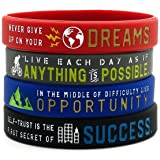 Inspirational Bracelets with Motivational Sayings -Anything is Possible, Success, Dreams, Opportunity (Color: Black / Red / Blue / Grey)