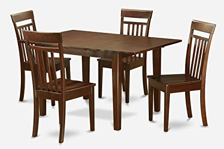 East West Furniture MLCA5-MAH-W 5-Piece Kitchen/Dinette Table Set