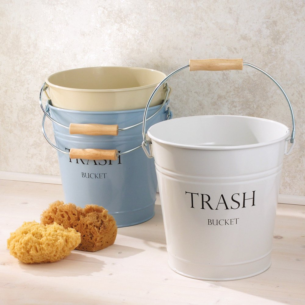 InterDesign Pail Wastebasket Trash Can, White 1