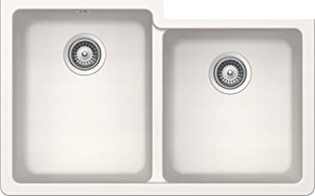 SCHOCK ALIN175YU099 ALIVE Series CRISTADUR 60/40 Undermount Double Bowl Kitchen Sink, Polaris
