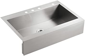 KOHLER K-3942-4-NA Vault Top-Mount Single-Bowl Kitchen Sink with Shortened Apron-Front for 36-Inch Cabinet and 4 Faucet Holes, Stainless Steel